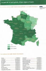 Espace de la forêt privée par rapport à la forêt publique. Inventaire forestier national, janvier 1999.